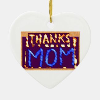 THANKS MOM -  Gold RoyalBLUE Mothersday Gifts Double-Sided Heart Ceramic Christmas Ornament