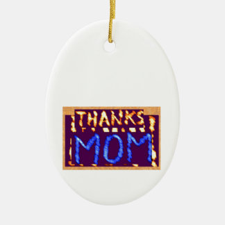 THANKS MOM -  Gold RoyalBLUE Mothersday Gifts Double-Sided Oval Ceramic Christmas Ornament