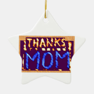 THANKS MOM -  Gold RoyalBLUE Mothersday Gifts Double-Sided Star Ceramic Christmas Ornament