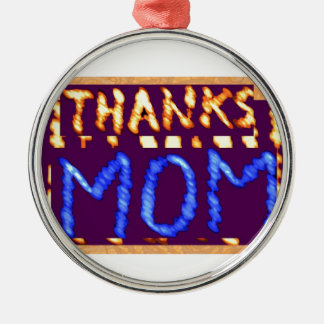 THANKS MOM -  Gold RoyalBLUE Mothersday Gifts Round Metal Christmas Ornament