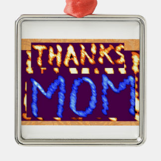 THANKS MOM -  Gold RoyalBLUE Mothersday Gifts Square Metal Christmas Ornament