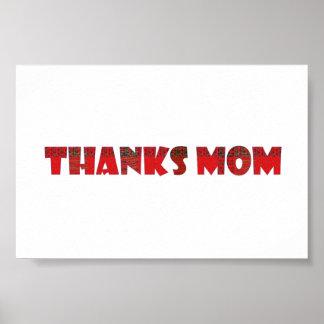 THANKS MOM handwrite more GREETINGS  KIDS family Poster