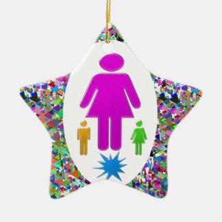 Thanks MOM :  Kudos to Single MOMS Double-Sided Star Ceramic Christmas Ornament