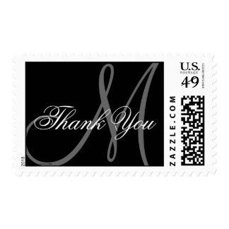 Thanks Monogram Wedding Black White Grey Postage