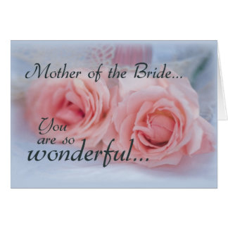 Thanks Mother of Bride Pink Roses Wedding Greeting Card