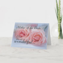 Thanks Mother of Bride, Pink Roses, Wedding Thank You Card