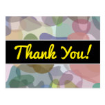 [ Thumbnail: Thanks + Multicolored Watercolor Look Blob Pattern Postcard ]