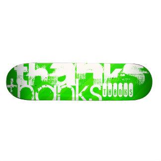 Thanks; Neon Green Stripes Skateboard Deck