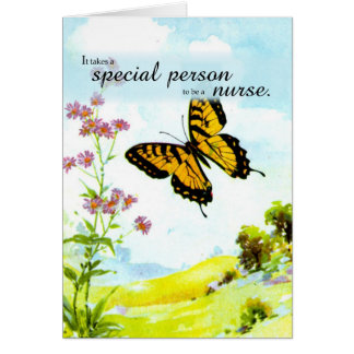 Thanks Nurse, Butterfly and Flowers Card