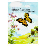 Thanks Nurse, Butterfly and Flowers Greeting Card