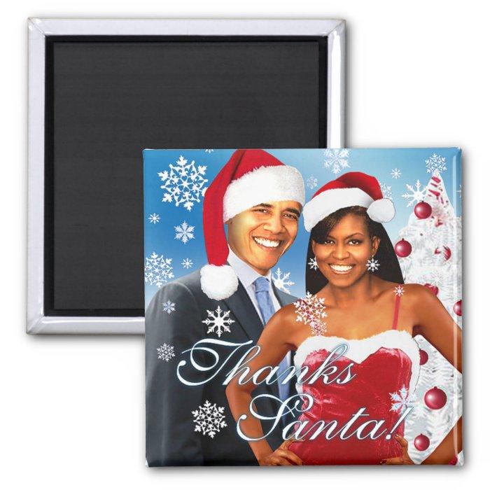 Thanks Santa! Barack and Michelle Magnet