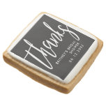 Thanks Script Custom Bridal Shower Black Square Shortbread Cookie