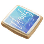 Thanks Script Custom Bridal Shower Blue Square Shortbread Cookie