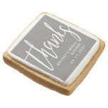 Thanks Script Custom Bridal Shower Gray Square Shortbread Cookie