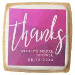 Thanks Script Custom Bridal Shower Pink Square Shortbread Cookie