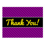 [ Thumbnail: Thanks + Simple Fuchsia & Black Stripes Pattern Postcard ]