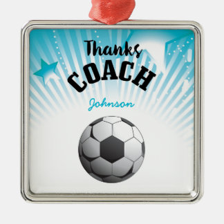 Thanks Soccer Coach Aqua Blue Stars Ball Metal Ornament