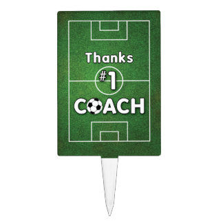 Thanks Soccer Coach Grass Field Cake Topper