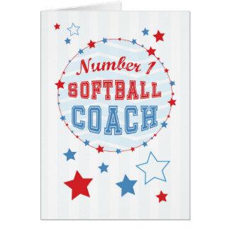 Thanks Softball Coach All-Stars, Red, Blue Stripes Card