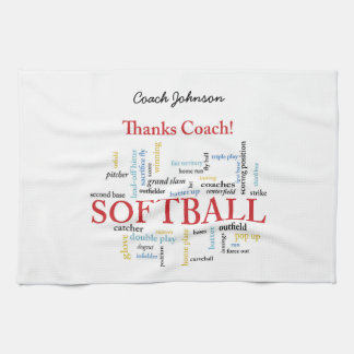 Thanks Softball Coach Words From Group, Team, Red Hand Towel