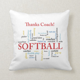 Thanks Softball Coach Words From Group, Team, Red Throw Pillow