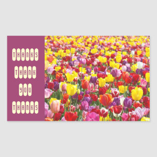 Thanks stickers Thank You seals Tulip Flowers