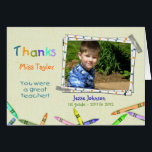 """Thanks Teacher Custom Photo/Name Card<br><div class=""""desc"""">Customize this teacher thank you card with your child&#39;s photo,  the teacher&#39;s name,  your child&#39;s name,  grade and school year.</div>"""