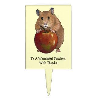 Thanks Teacher: Hamster, Apple, Color Pencil Art Cake Topper