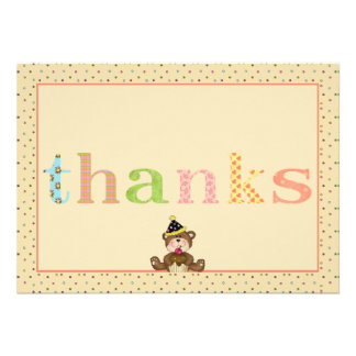 Thanks Teddy Bear Notecard Personalized Invite
