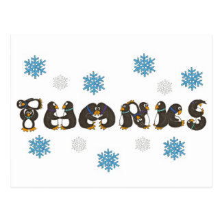 Thanks Thank You Penguin Winter Snowflake Holiday Postcard