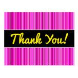 [ Thumbnail: Thanks + Thin Magenta and Pink Stripes Pattern Postcard ]