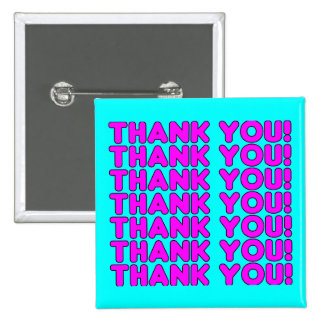 Thanks to Her : Cute Girly Pink Cyan Thank You Pinback Buttons