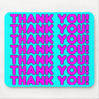 Thanks to Her : Cute Girly Pink Cyan Thank You Mousepad