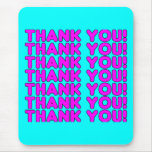 Thanks to Her : Cute Girly Pink Cyan Thank You Mouse Pads