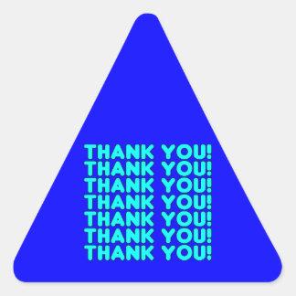 Thanks to Him  Cool Boys & Men Cyan Blue Thank You Triangle Sticker