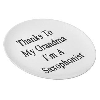 Thanks To My Grandma I'm A Saxophonist Dinner Plate