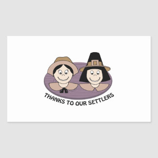 Thanks to our Settlers Rectangular Sticker