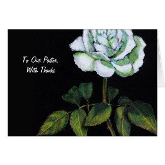 Thanks To Pastor: Single White Rose on Black, Art Greeting Card