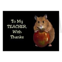 Thanks To Teacher: Hamster, Apple: Art on Black