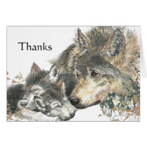 Thanks Watercolor Wolf & Cubs Animal Art Card