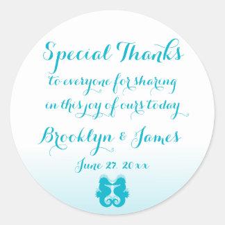 Thanks White Blue Seahorse Wedding Stickers
