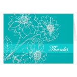 Thanks White Flowers Aqua Banner Greeting Card