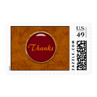 Thanks with a glass button postage stamps