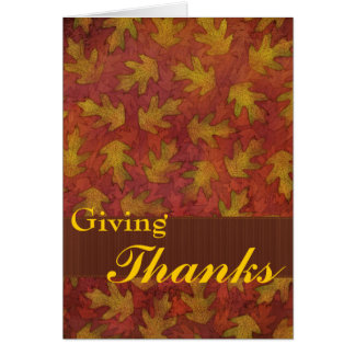 Thanks with fall leaves card