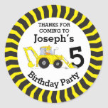 Thanks You Kids Construction Birthday Sticker at Zazzle