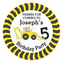 Thanks you kids construction birthday sticker