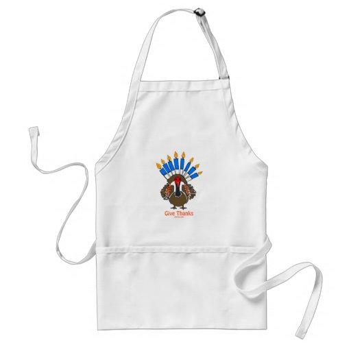 Thanksanukkah Thanksgivukkah  turkey menorah gift Aprons