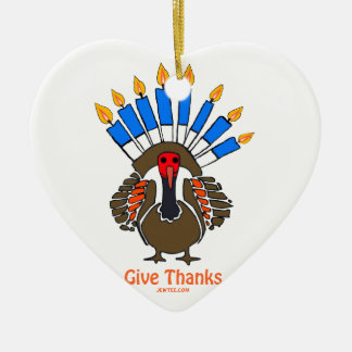 Thanksanukkah Thanksgivukkah  turkey menorah gift Ceramic Ornament