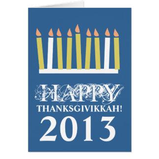 Thanksgivikkah feliz tarjeta de felicitación