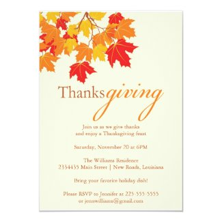 Thanksgiving 5x7 Paper Invitation Card